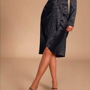 Black Leopard Satin Tulip-Hem Midi Skirt NWT